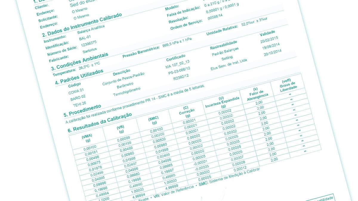 Avaliação dos Certificados/Relatórios de Calibração, Análises eEnsaios.